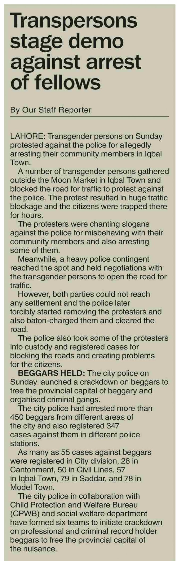 Transgender persons protest against police arrests of Fellow in Pakistan.